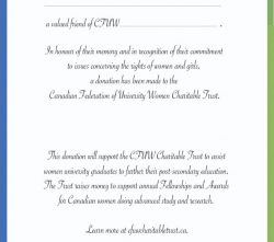 Donation In Memoriam Cards